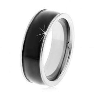 Čierny tungstenový hladký prsteň, jemne vypuklý, lesklý povrch, úzke okraje - Veľkosť: 49 mm