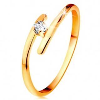 Diamantový prsteň v žltom 14K zlate - žiarivý číry briliant, tenké predĺžené ramená - Veľkosť: 49 mm