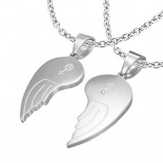 Dvojprívesok z ocele 316L, anjelské krídla, symboly ONA a ON, číre zirkóny,