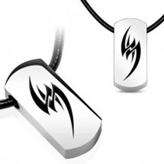 Náhrdelník na gumenej šnúrke - oceľový tribal symbol