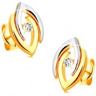 Náušnice v kombinovanom 14K zlate - dvojfarebné podkovy a číry zirkón