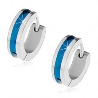 Oceľové náušnice striebornej farby s modrým pruhom v strede