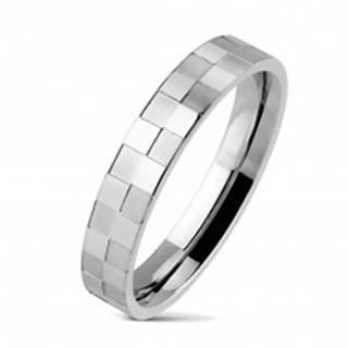 Oceľový prsteň tenký s matnou a lesklou šachovnicou - Veľkosť: 48 mm