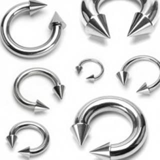 Piercing striebornej farby z chirurgickej ocele - podkova ukončená hrotmi, rôzne veľkosti - Rozmer: 1,2 mm x 10 mm x 4x4 mm