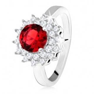 Prsteň s červeným okrúhlym kameňom a čírymi zirkónikmi, slniečko, striebro 925 - Veľkosť: 50 mm