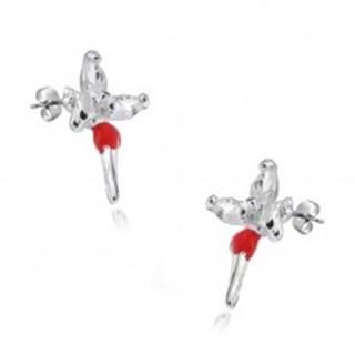 Puzetové náušnice - striebro 925,  víla s červenou sukničkou a zirkónmi na krídlach