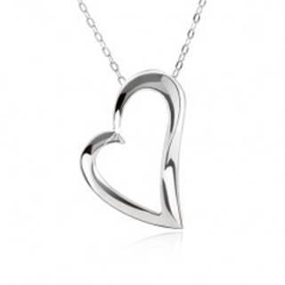 Strieborný 925 náhrdelník, nastaviteľný, retiazka a kontúra asymetrického srdca SP27.20