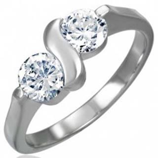 Zásnubný prsteň z chirurgickej ocele s dvojitým zirkónom s esíčkom D6.14 - Veľkosť: 49 mm