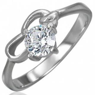 Zásnubný prsteň z chirurgickej ocele so zirkónom čírej farby a dvoma slučkami - Veľkosť: 48 mm