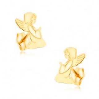 Zlaté náušnice 375 - gravírovaný modliaci sa anjelik, zrkadlový lesk GG39.03