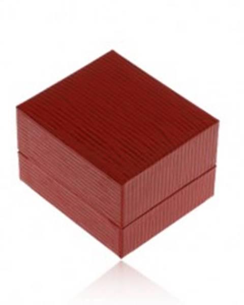 Darčeková krabička na náušnice, koženkový povrch tmavočervenej farby, ryhy