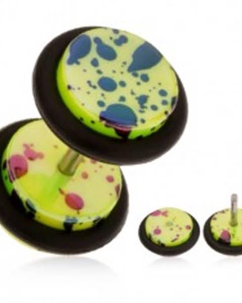 Falošný plug do ucha z akrylu, neónovo žltý povrch, olejové škrvny