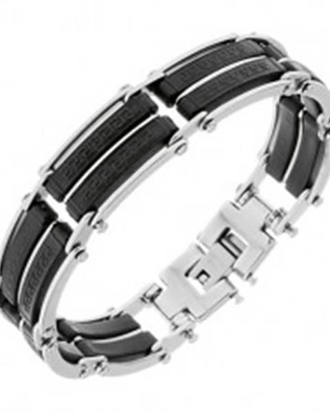 Náramok z ocele, čierne gumené časti s pásikmi striebornej farby, grécky kľúč - Dĺžka: 195 mm