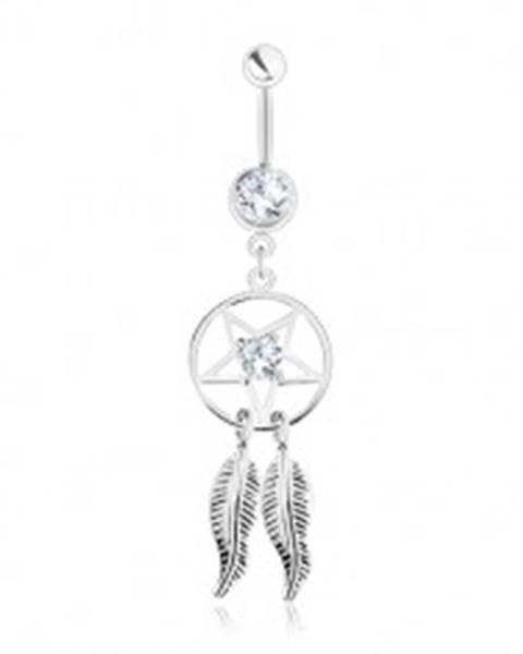 Oceľový piercing do brucha, lapač snov - pentagram, pierka, číre zirkóny SP31.07