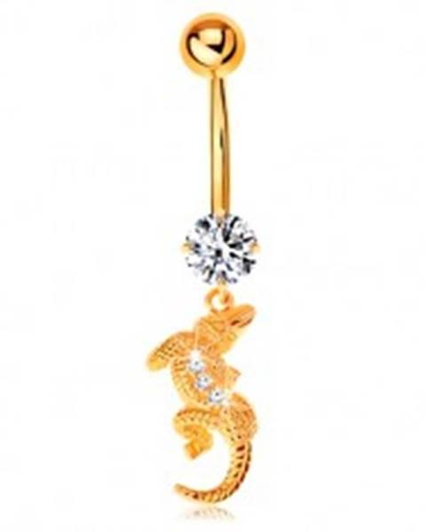 Piercing do pupku v žltom 9K zlate - číry zirkón, malý krokodíl so zahnutým telom