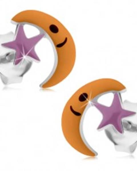 Strieborné 925 náušnice, mesiačik s hviezdou, fialová a oranžová glazúra