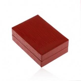 Krabička na náušnice v tmavočervenej farbe, koženkový povrch so zárezmi Y49.17