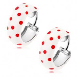 Kruhové náušnice zo striebra 925, biela glazúra s červenými bodkami