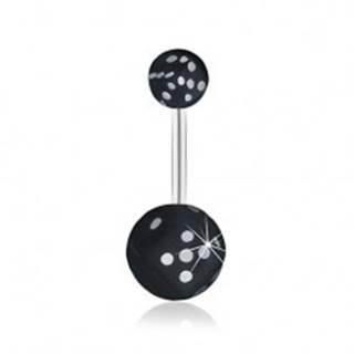 Oceľový piercing do pupku, čierna hracia kocka v čírej guličke, glazúra SP30.29