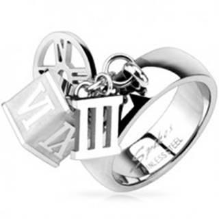 Oceľový prsteň s príveskom kocky, obruče, rímskej číslice tri   L2.09 - Veľkosť: 49 mm