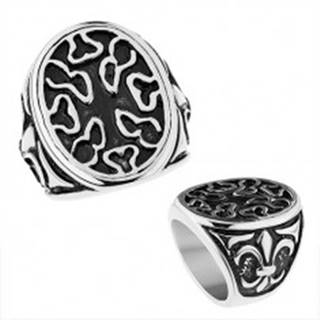 Patinovaný oceľový prsteň, ovál s nepravidelnými výrezmi, Fleur de Lis - Veľkosť: 56 mm