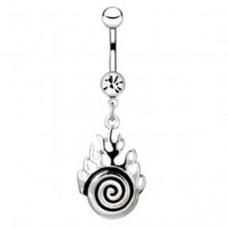 Piercing do bruška z ocele - strieborná špirála s plameňmi
