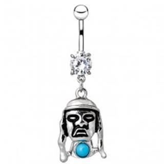 Piercing do pupku z ocele - tvár indiána s modrým kameňom