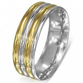 Prsteň z ocele - zaoblené pásy strieborno-zlatej farby B3.10 - Veľkosť: 51 mm
