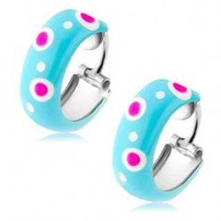 Strieborné náušnice 925, malé kruhy, modrá glazúra, ružové a biele bodky