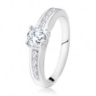Strieborný zásnubný prsteň 925, okrúhly číry kamienok, zdobené ramená - Veľkosť: 48 mm