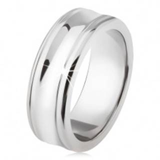 Titánový prsteň - strieborná farba, lesklý, prehĺbený stredný pás SP25.06 - Veľkosť: 54 mm