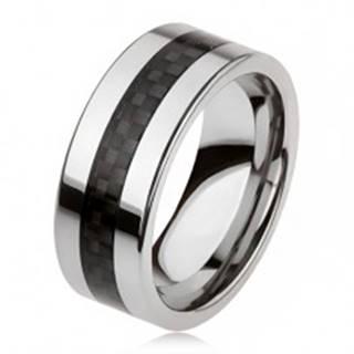 Tungstenová obrúčka striebornej farby s čiernym stredovým pásom, mriežka - Veľkosť: 49 mm