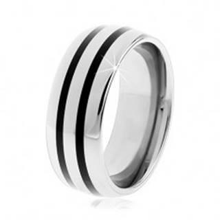 Tungstenový hladký prsteň, jemne vypuklý, lesklý povrch, dva čierne pruhy - Veľkosť: 49 mm