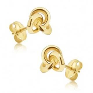 Zlaté náušnice 375 - zrkadlovolesklý uzol z troch obručí