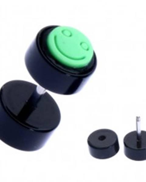 Falošný piercing do ucha z akrylu - zelený smajlík, čierny valec