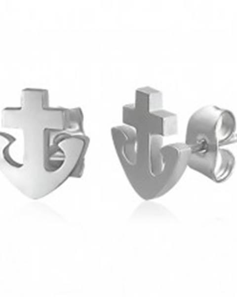 Náušnice z ocele 316L - kotva a kríž, strieborná farba, puzetky