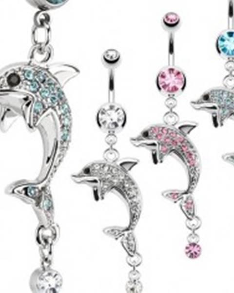 Oceľový piercing do pupka, strieborná farba, delfín, farebné zirkóny - Farba zirkónu: Aqua modrá - Q