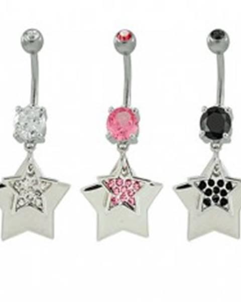 Piercing do pupka hviezdy so zirkónmi - Farba zirkónu: Čierna - K
