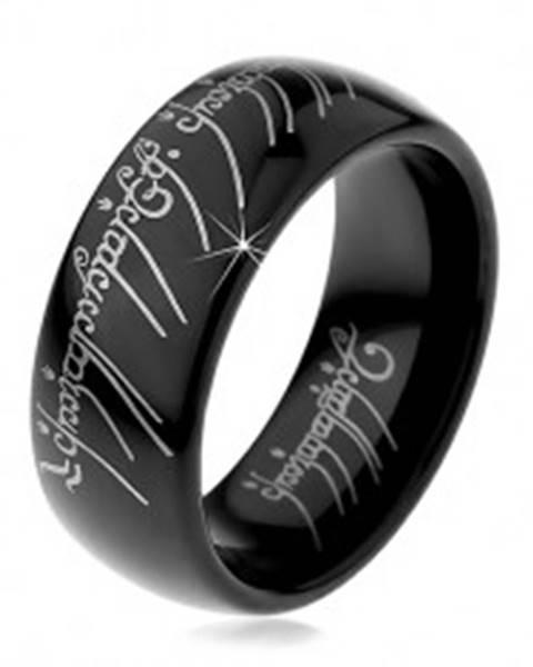Prsteň z volfrámu - hladká čierna obrúčka, motív Pána prsteňov, 8 mm - Veľkosť: 49 mm