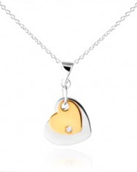 Strieborný náhrdelník 925, dve srdiečka striebornej a zlatej farby, zirkón