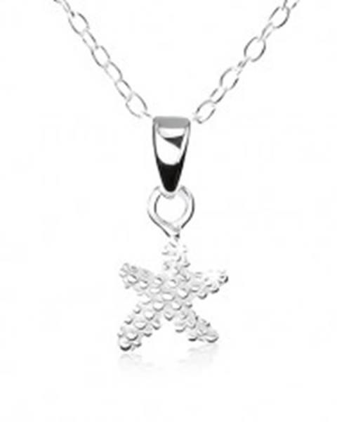 Strieborný náhrdelník 925, hviezdička s gravírovanými guličkami
