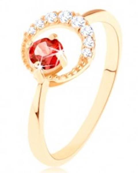 Zlatý prsteň 585 - zirkónový kosák mesiaca, okrúhly červený granát GG91.25/51/55 - Veľkosť: 49 mm