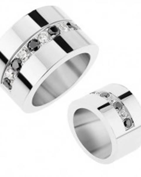 Zrkadlovolesklý prsteň z ocele 316L, striedajúce sa číre a čierne ligotavé zirkóny - Veľkosť: 56 mm