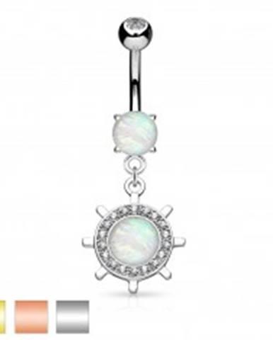 Piercing do brucha, oceľ 316L, kormidlo so syntetickým opálom a zirkónikmi AB29.08 - Farba piercing: Medená