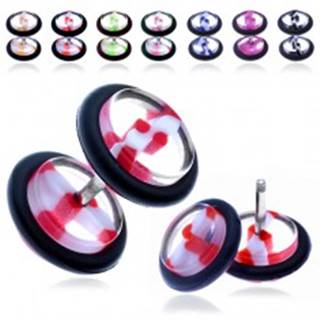 Akrylový fake plug - priehľadné koliesko s farebným pruhom - Farba piercing: Červená