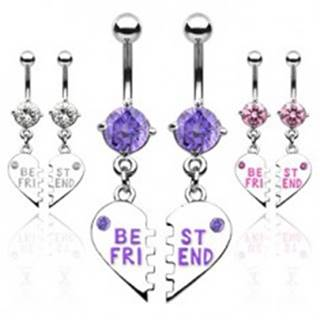 Dvojitý piercing do pupku zlomené srdce BEST FRIEND - Farba piercing: Číra