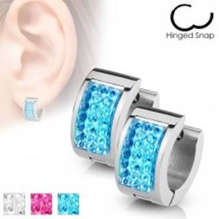 Kĺbové náušnice z chirurgickej ocele, strieborná farba, ligotavý obdĺžnik - Farba: Aqua modrá