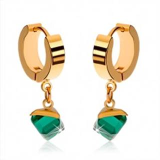 Lesklé náušnice z ocele zlatej farby, visiaca smaragdovo zelená kocka