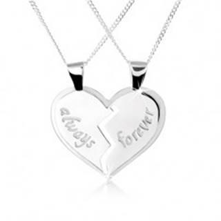 """Náhrdelník zo striebra 925, dvojprívesok - rozpolené srdce, nápisy """"always"""", """"forever"""""""