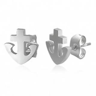 Náušnice z ocele 316L - kotva a kríž, strieborná farba, puzetky X13.06